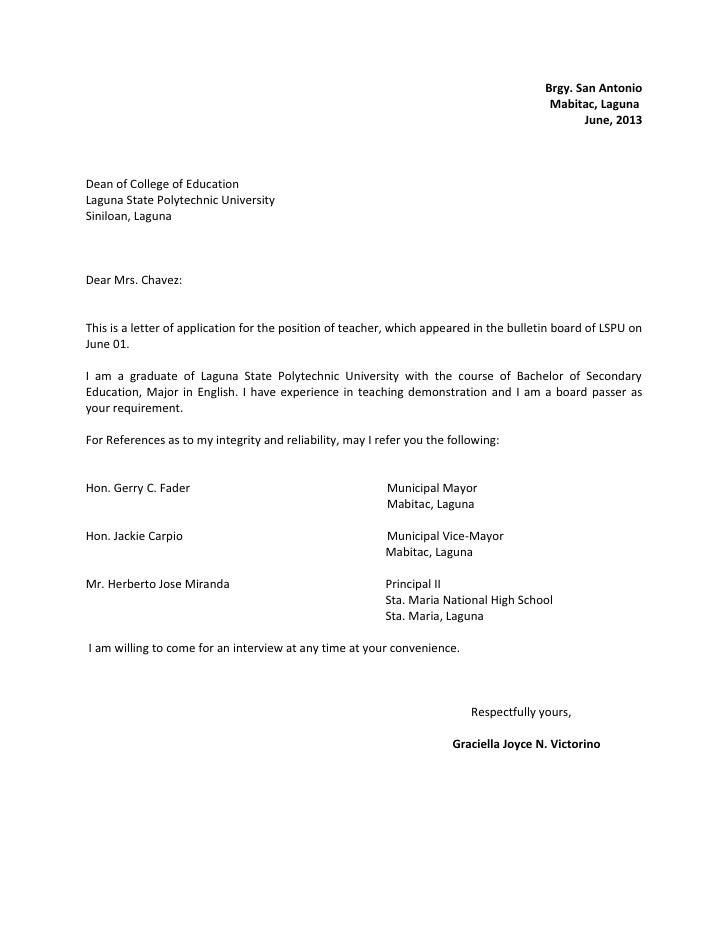 sample cover letter for english teacher