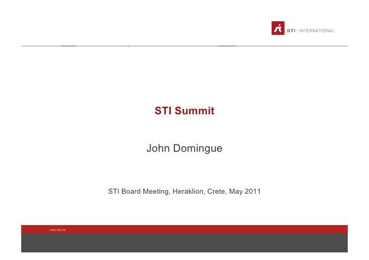STI2 Board Meeting 2011 - Summit 2011