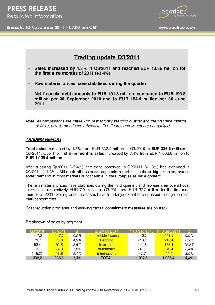 Trading update Q3/2011