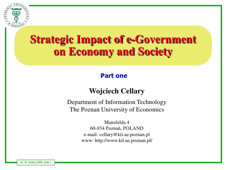 Strategic Impact of e-Government              on Economy and Society                                              Part one...