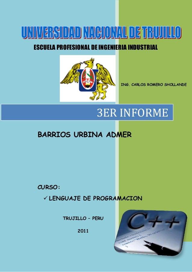 ESCUELA PROFESIONAL DE INGENIERIA INDUSTRIAL                               ING. CARLOS ROMERO SHOLLANDE                   ...