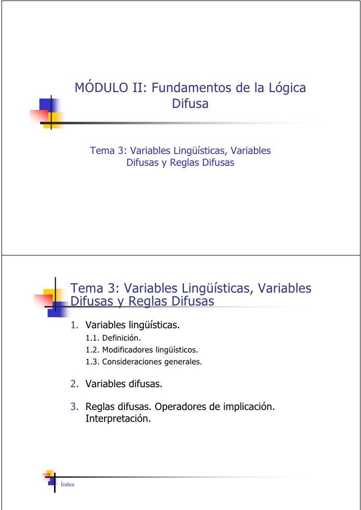 3 Variables LingüíSticas, Variables Difusas Y Reglas Difusas