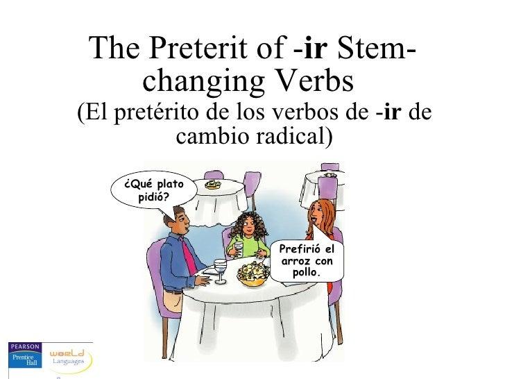 The Preterit of - ir  Stem-changing Verbs  (El pretérito de los verbos de - ir  de cambio radical) ¿Qué plato pidió? Prefi...