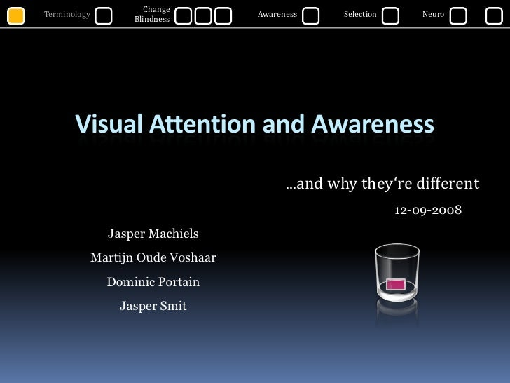 Change Blindness<br />Terminology<br />Awareness<br />Selection<br />Neuro<br />Visual Attention and Awareness<br />...and...