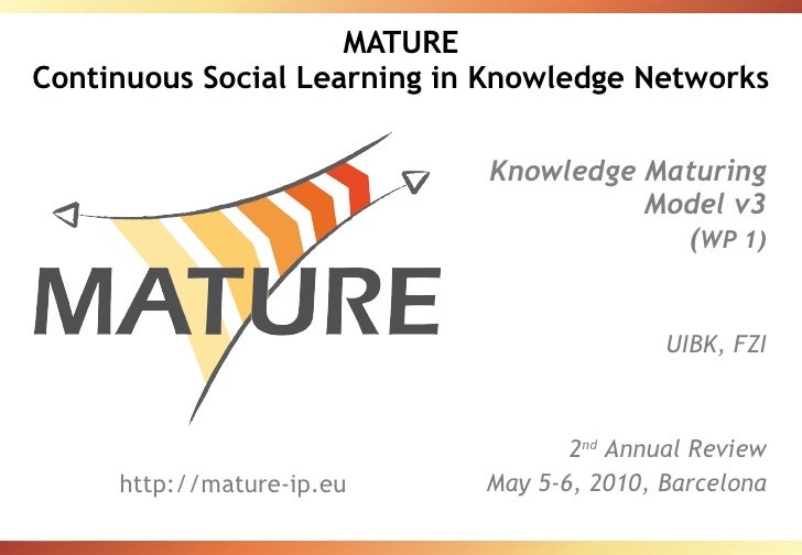 MATURE Continuous Social Learning in Knowledge Networks Knowledge Maturing Model v3 ( WP 1) UIBK, FZI 2 nd  Annual Review ...