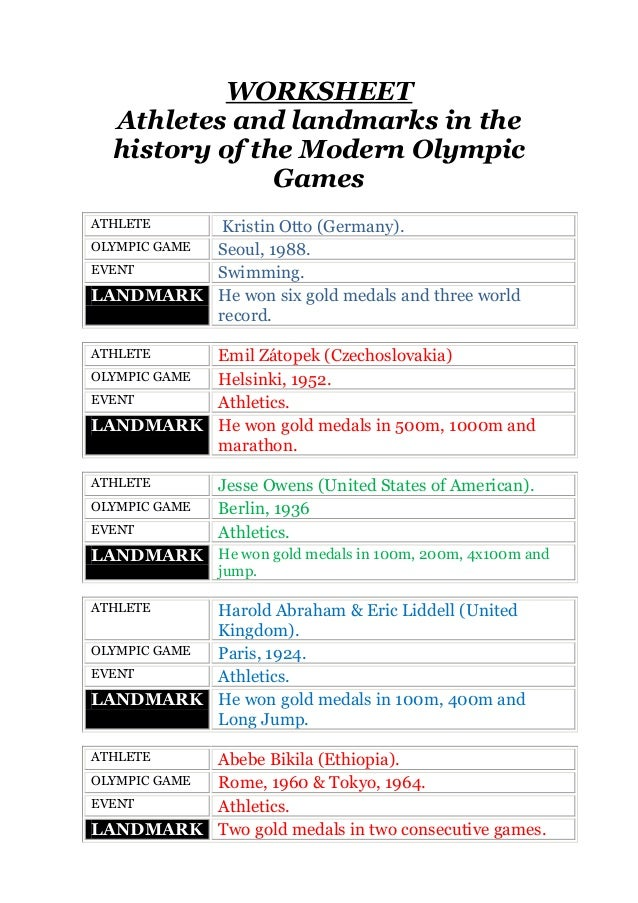 WORKSHEET Athletes and landmarks in the history of the Modern Olympic Games Kristin Otto (Germany). OLYMPIC GAME Seoul, 19...
