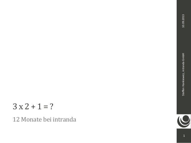10.09.2013Steffen  Hankiewicz,  intranda  GmbH 3  x  2  +  1  =  ? 12  Monate  bei  intranda 1