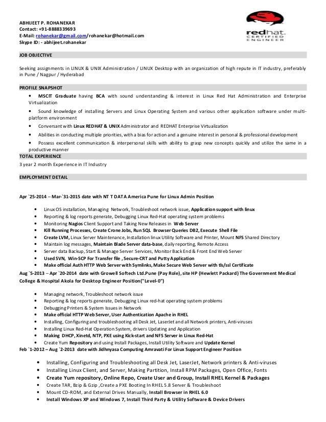 linux admin sle resume 48 images resume system