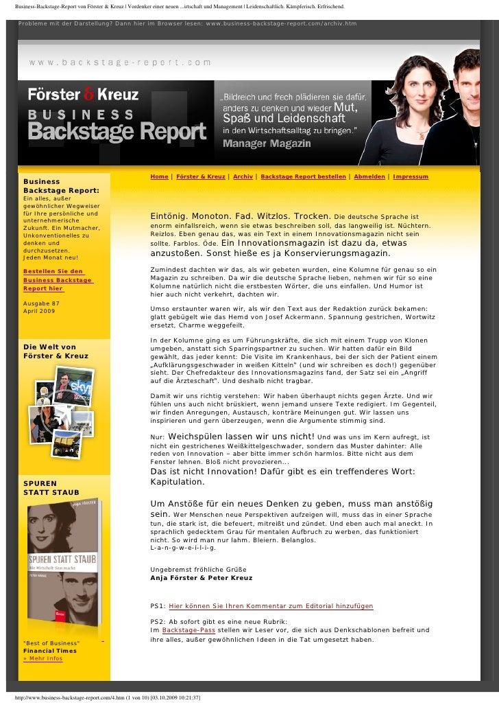 Foerster & Kreuz   Business-Backstage-Report   Anstößig, um neue Anstöße zu geben, April 2009