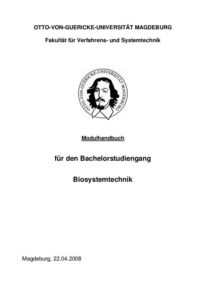 OTTO-VON-GUERICKE-UNIVERSITÄT MAGDEBURG        Fakultät für Verfahrens- und Systemtechnik                        Modulhand...