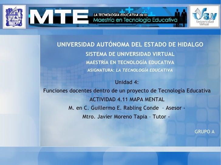 Unidad 4: Funciones docentes dentro de un proyecto de Tecnología Educativa ACTIVIDAD 4.11 MAPA MENTAL M. en C. Guillermo E...