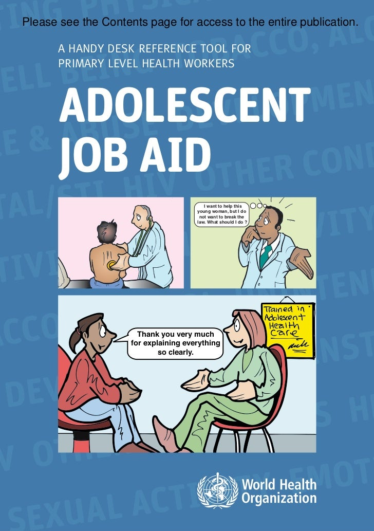 """Adolescent job aid -A handy desk reference tool for primary level health workers"" (WHO) 2010"