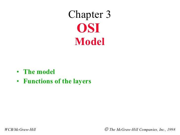 Chapter 3 OSI   Model <ul><li>The model </li></ul><ul><li>Functions of the layers </li></ul>WCB/McGraw-Hill    The McGraw...