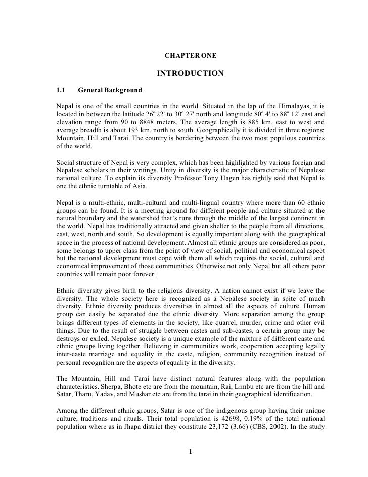 CHAPTER ONE                                      INTRODUCTION 1.1    General Background  Nepal is one of the small countri...