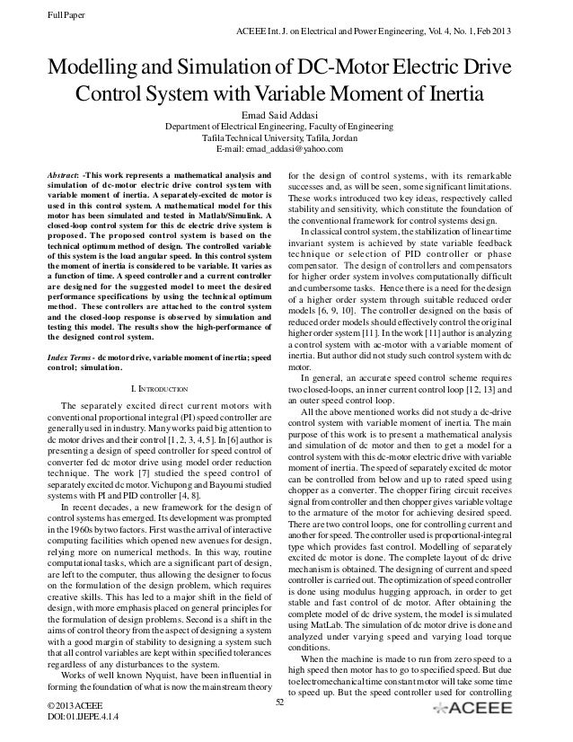 Modelling and Simulation of DC-Motor Electric Drive Control System with Variable Moment of Inertia