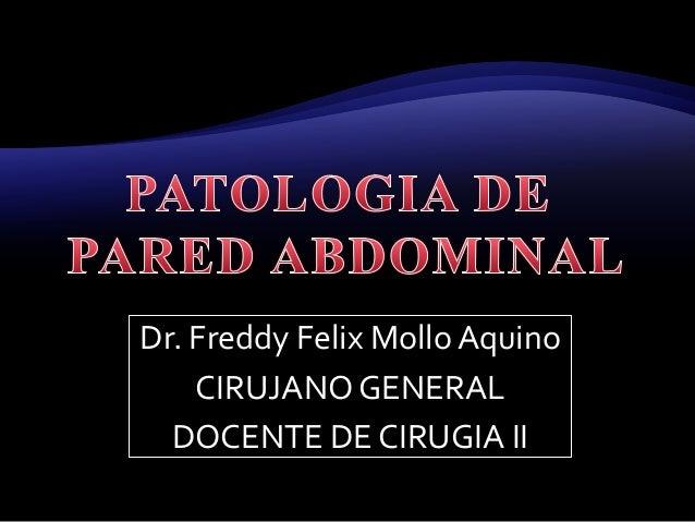 Dr. Freddy Felix Mollo Aquino CIRUJANO GENERAL DOCENTE DE CIRUGIA II