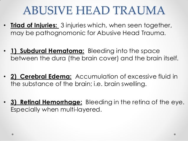 pediatric abusive head trauma essay Resources for free scenarios • it's all in the head meti-meningitis/seizure this pediatric simulation and unfolding case study takes place in the nursing learning resource center and is scheduled early in the nursing care of children and.