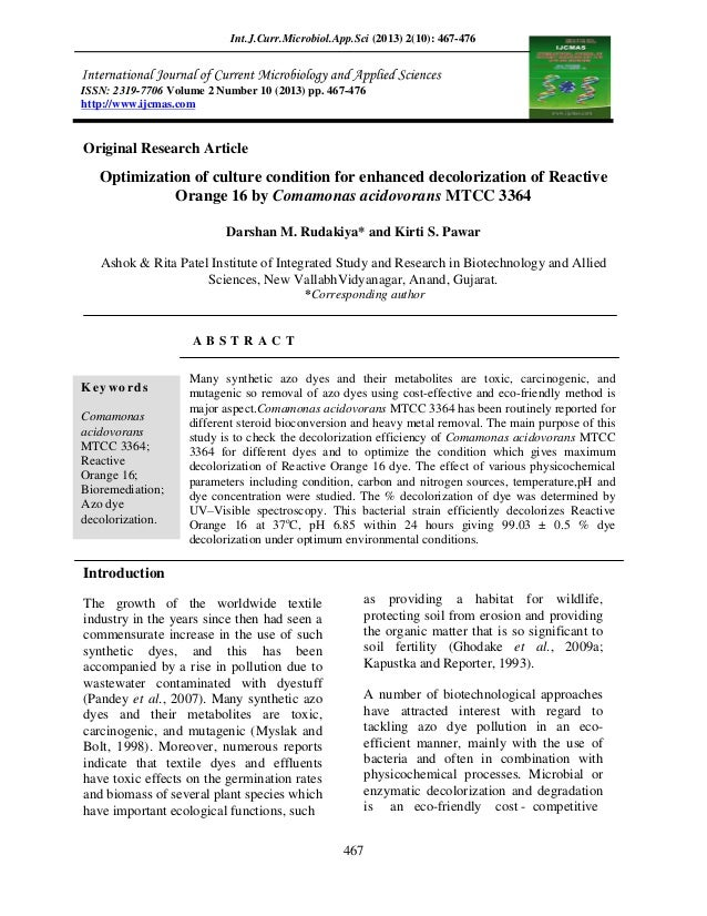 4. optimization of culture condition for enhanced decolorization of reactive orange 16