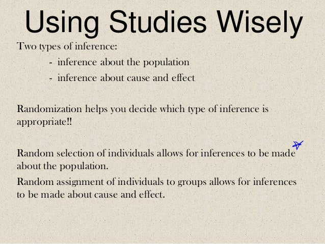 Using Studies Wisely Two types of inference: - inference about the population - inference about cause and effect Randomiza...