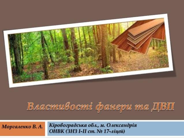 Моргаленко В. А.  Кіровоградська обл., м. Олександрія ОНВК (ЗНЗ І-ІІ ст. № 17-ліцей)