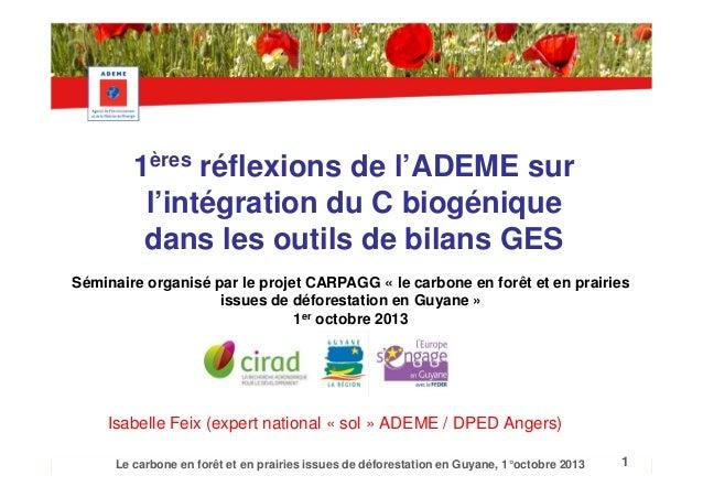 1ères réflexions de l'ADEME sur l'intégration du C biogénique dans les outils de bilans GES Séminaire organisé par le proj...
