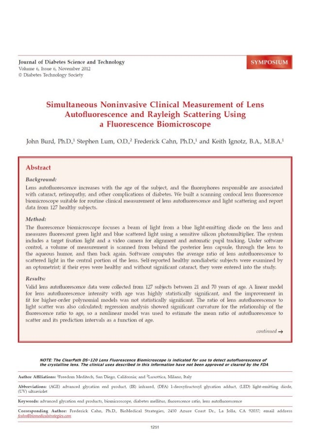 Simultaneous Noninvasive Clinical Measurement of Lens Autofluorescence and Rayleigh Scattering Using a Fluorescence Biomic...