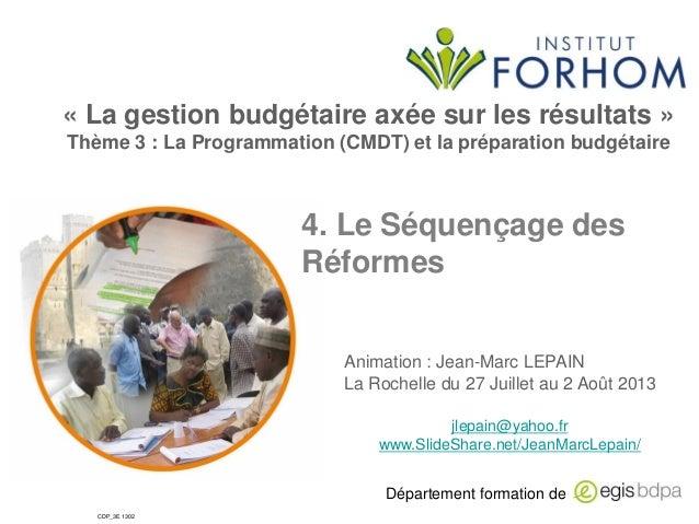 4. le séquençage des reformes de finances publiques