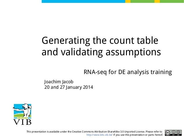 Generating the count table and validating assumptions RNA-seq for DE analysis training Joachim Jacob 20 and 27 January 201...