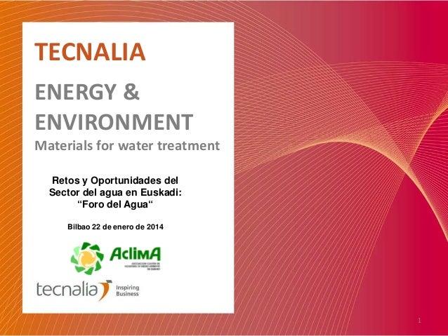 """TECNALIA ENERGY & ENVIRONMENT  Materials for water treatment Retos y Oportunidades del Sector del agua en Euskadi: """"Foro d..."""