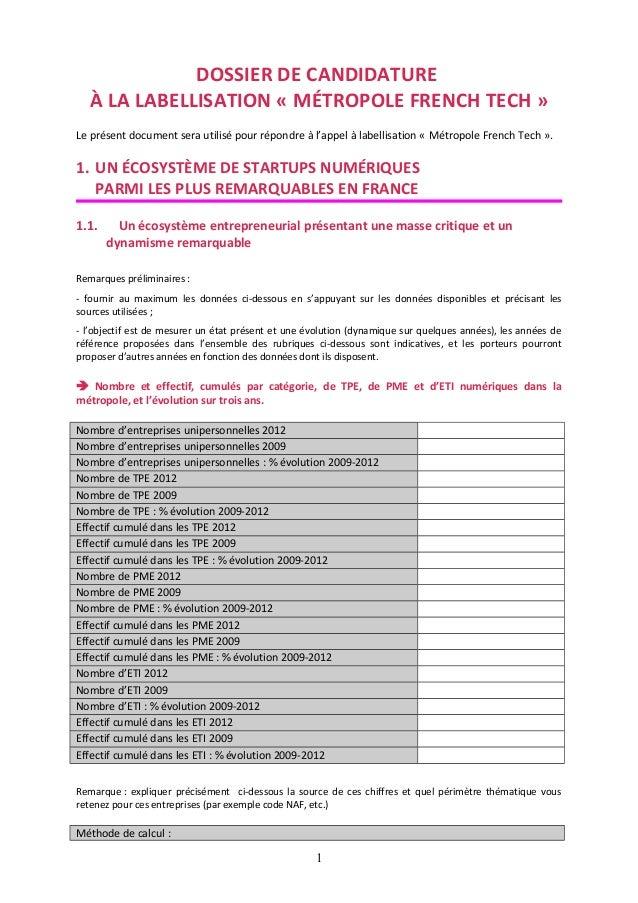 DOSSIER DE CANDIDATURE À LA LABELLISATION « MÉTROPOLE FRENCH TECH » Le présent document sera utilisé pour répondre à l'app...
