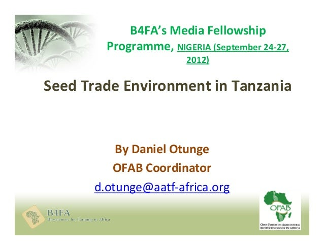 4.0 seed trade environment in tanzania   otunge