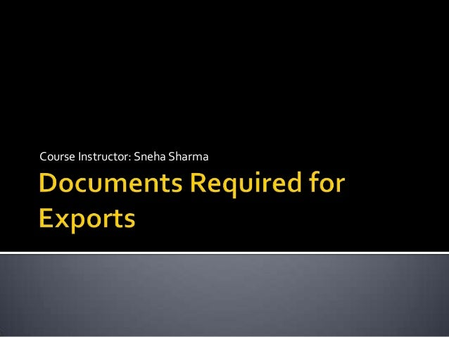 Documents required for exports in India
