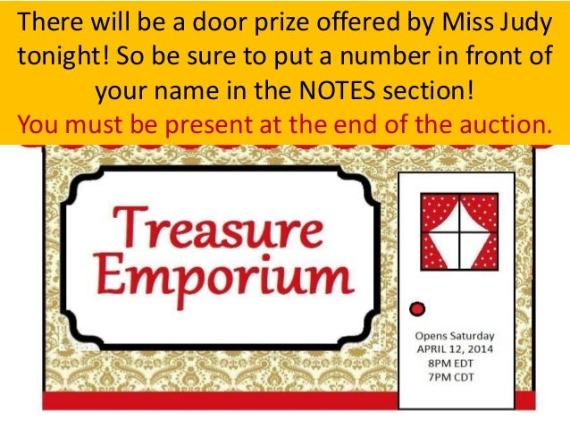 There will be a door prize offered by Miss Judy tonight! So be sure to put a number in front of your name in the NOTES sec...