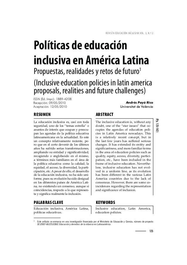 REVISTA EDUCACIÓN INCLUSIVA VOL. 3, N.º 2  Políticas de educación inclusiva en América Latina Propuestas, realidades y ret...