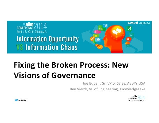#AIIM14	   #AIIM14	    #AIIM14	    Fixing	   the	   Broken	   Process:	   New	    Visions	   of	   Governance	    Joe	   B...