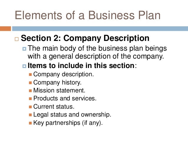 elements of a business plan In this business education course, vince lopresti from the small business administration (sba) will discuss the fundamental elements of a business plan.