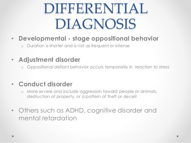 program for the prevention of the oppositional defiant disorder odd and the conduct disorder cd Turgay a psychopharmacological treatment of oppositional defiant disorder indicated prevention program for preschool (odd, cd) and impulse-control disorders.