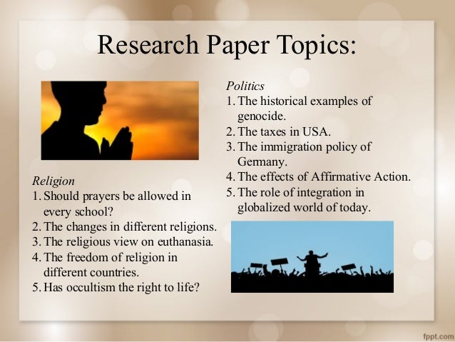 random research papers Use the following list of 101 research paper topics as a starting point for your paper as you begin learning and writing about your topic, you should revise or amend your research question or thesis statement to better match the information that you are interpreting, analyzing, and expressing.