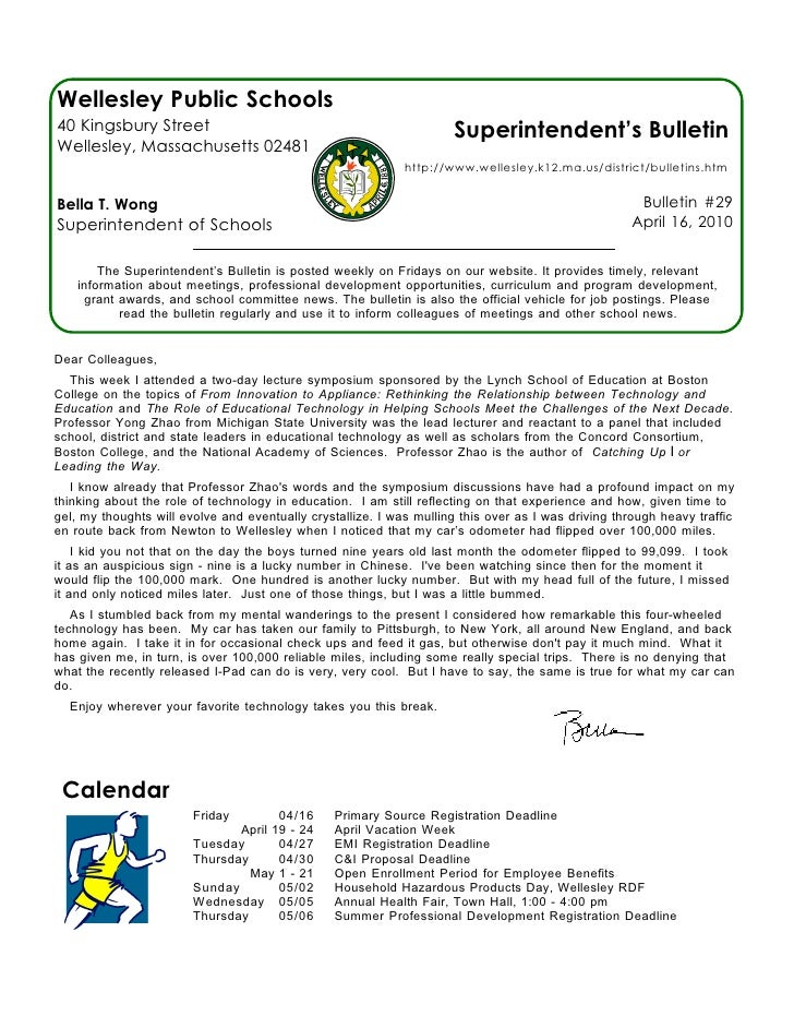 Wellesley Public Schools 40 Kingsbury Street                                                  Superintendent's Bulletin We...