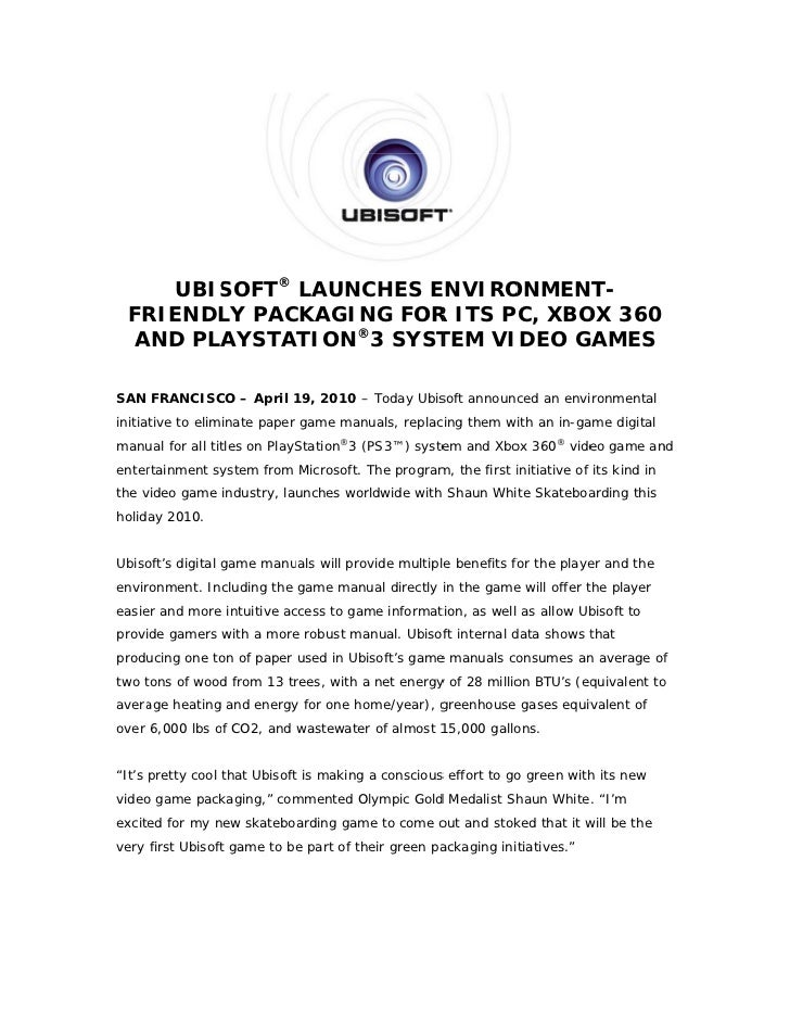Ubisoft Launches Environment-friendly Packaging for its PC, Xbox 360 and Playstation 3 System Video Game