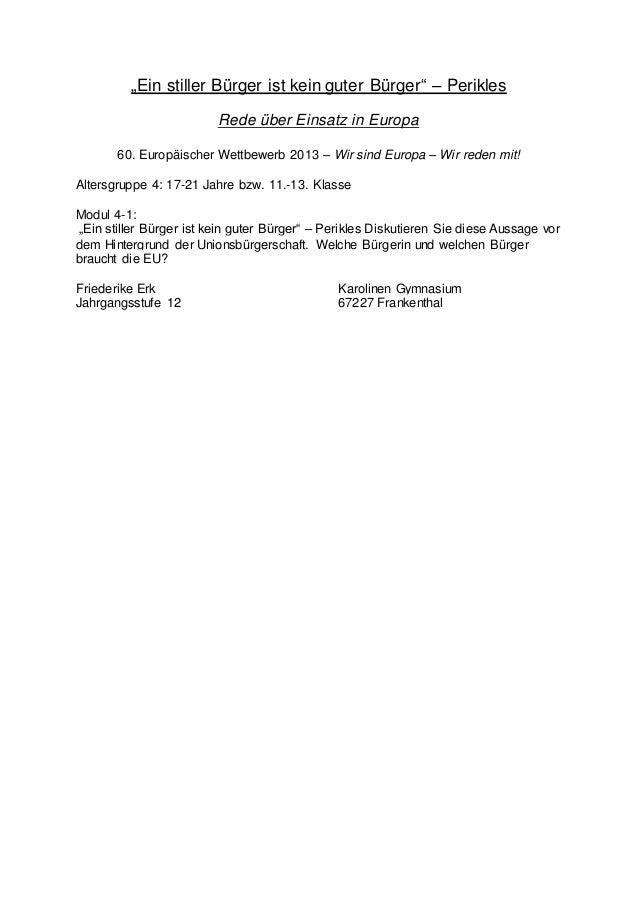 """""""Ein stiller Bürger ist kein guter Bürger"""" – Perikles Rede über Einsatz in Europa 60. Europäischer Wettbewerb 2013 – Wir s..."""
