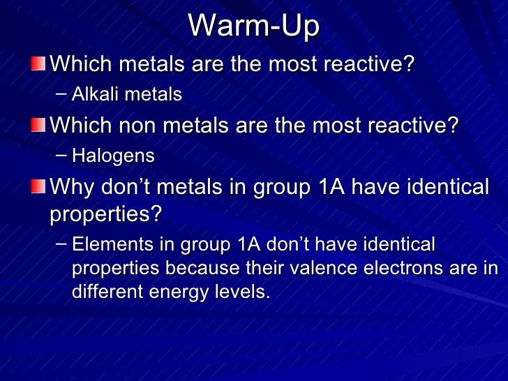 Warm-Up <ul><li>Which metals are the most reactive? </li></ul><ul><ul><li>Alkali metals </li></ul></ul><ul><li>Which non m...