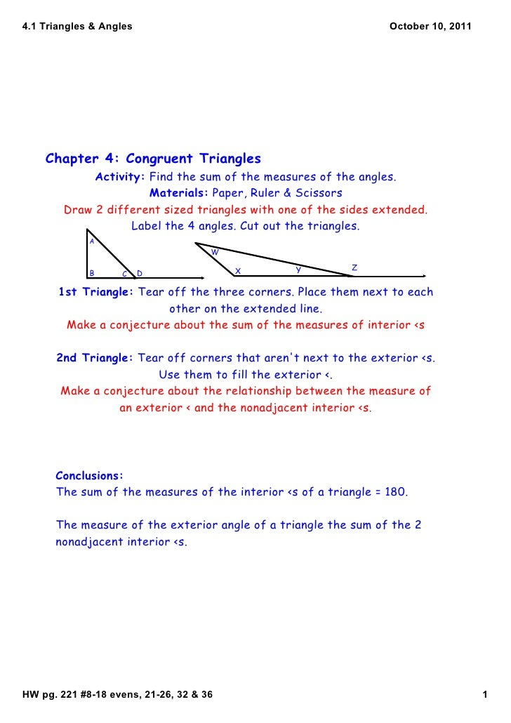 4.1Triangles&Angles                                           October10,2011    Chapter 4: Congruent Triangles       ...