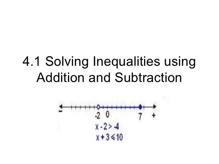 4.1 Solving Inequalities using  Addition and Subtraction