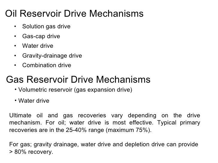 Drive Mechanisms in Reservoirs Oil Reservoir Drive Mechanisms