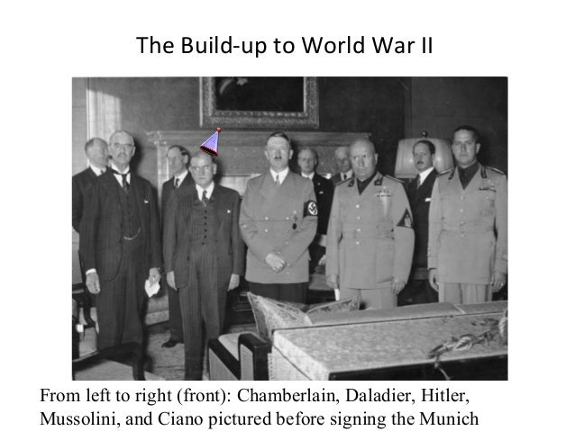 The Build-up to World War II  From left to right (front): Chamberlain, Daladier, Hitler, Mussolini, and Ciano pictured bef...