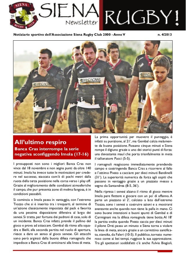 Newsletter 04/2013 Siena Rugby Club 2000