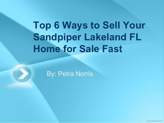 Top 6 Ways to Sell Your Sandpiper Lakeland FL Home for Sale Fast By: Petra Norris