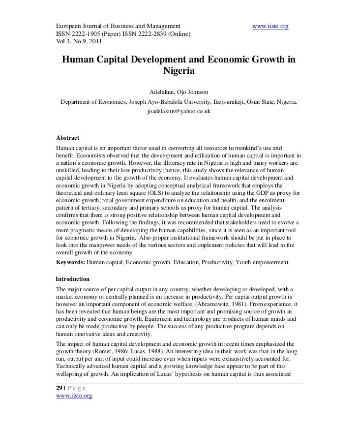 4.[29 38]human capital development and economic growth in nigeria