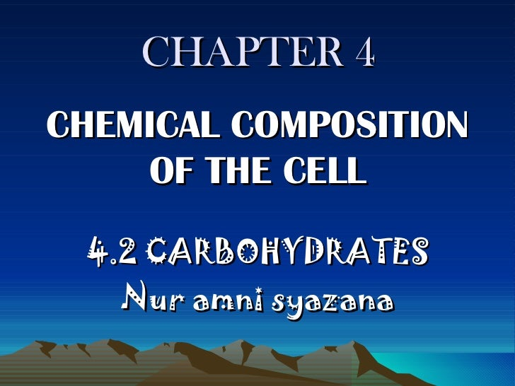 CHAPTER 4 CHEMICAL COMPOSITION OF THE CELL 4.2 CARBOHYDRATES Nur amni syazana